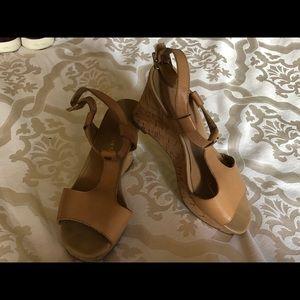 Tan Franco Sarto Cork Wedge T-Strap Heels/Shoes 7
